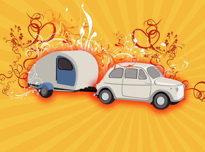 old car and caravan